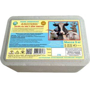 Фелуцен солевой лизунец универсальный с минералами для КРС и сельскохозяйственных животных 3кг